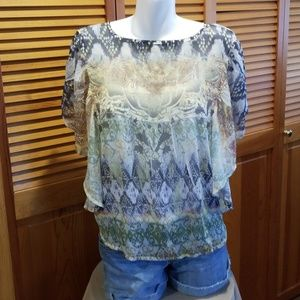 One World sheer flutter sleeve top